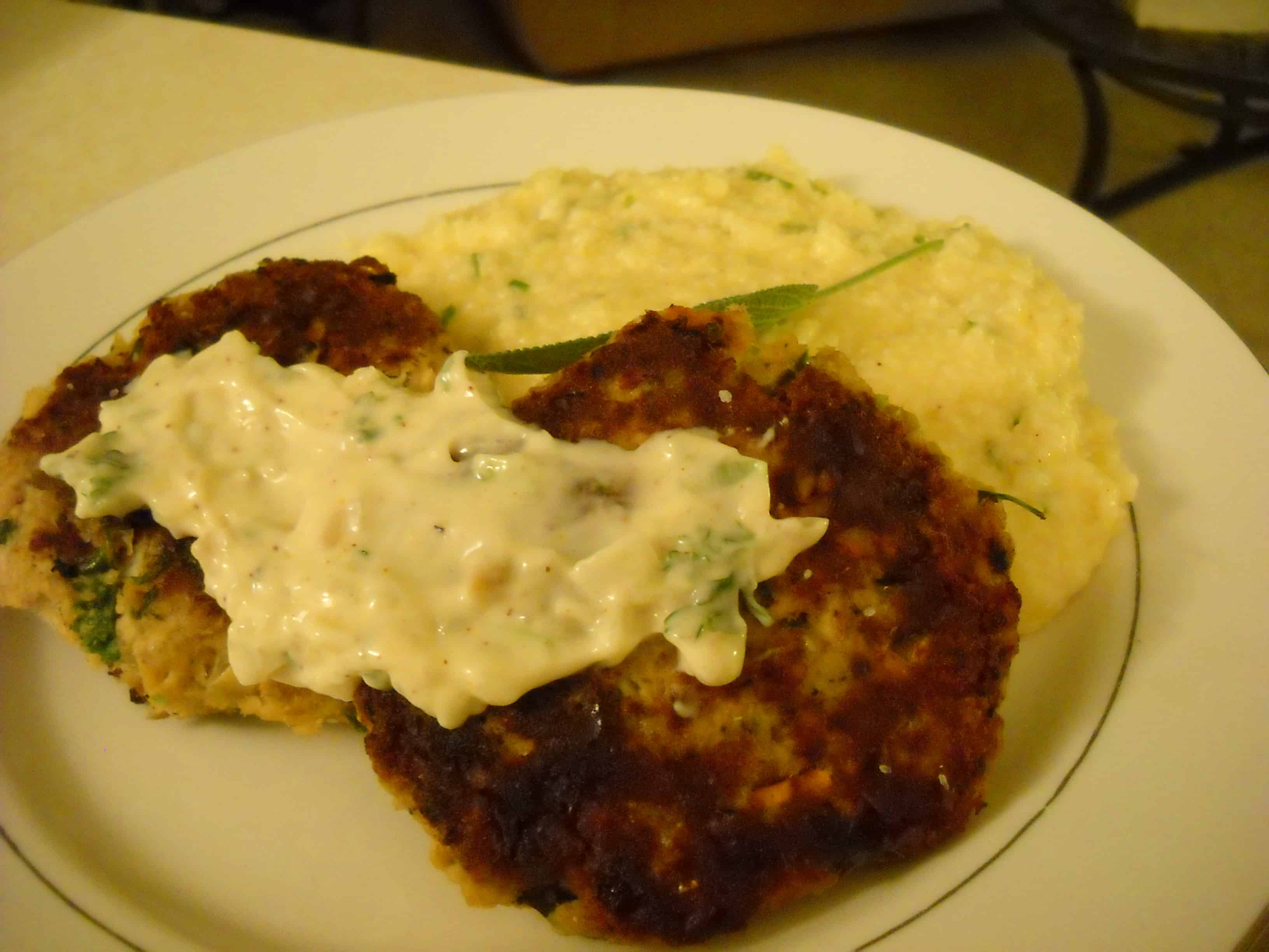 Cajun Salmon Patties and Cheese Grits
