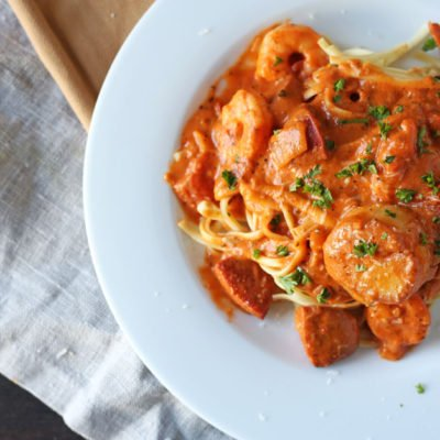 Cajun Seafood Pasta w/ Creamy Tomato Sauce
