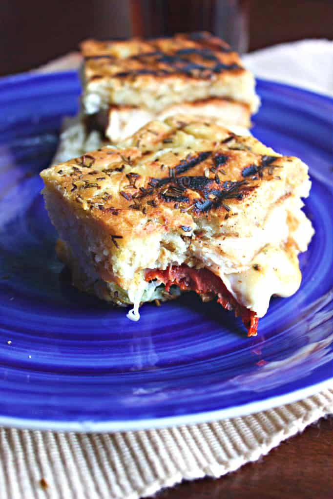 Grilled Chicken, Spinach, and Sundried Tomato Panini with Smoked Mozzerella
