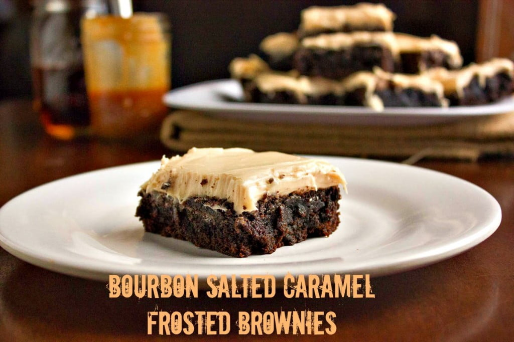 Bourbon Salted Caramel Frosted Brownies | Brown Sugar