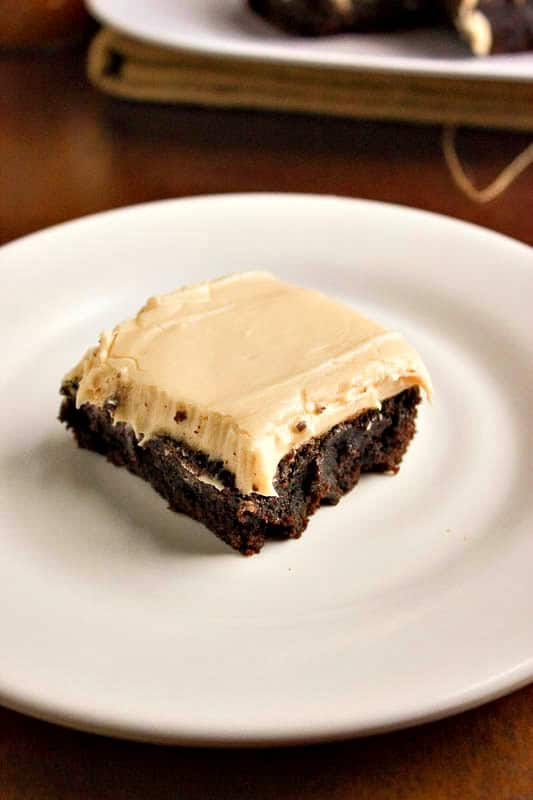 Bourbon Salted Caramel Frosted Brownies