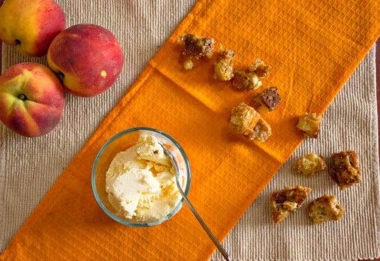 Peach Sundaes with Caramel Croutons