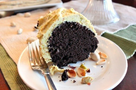 Moist Chocolate Cake with Pistachio Buttercream Frosting