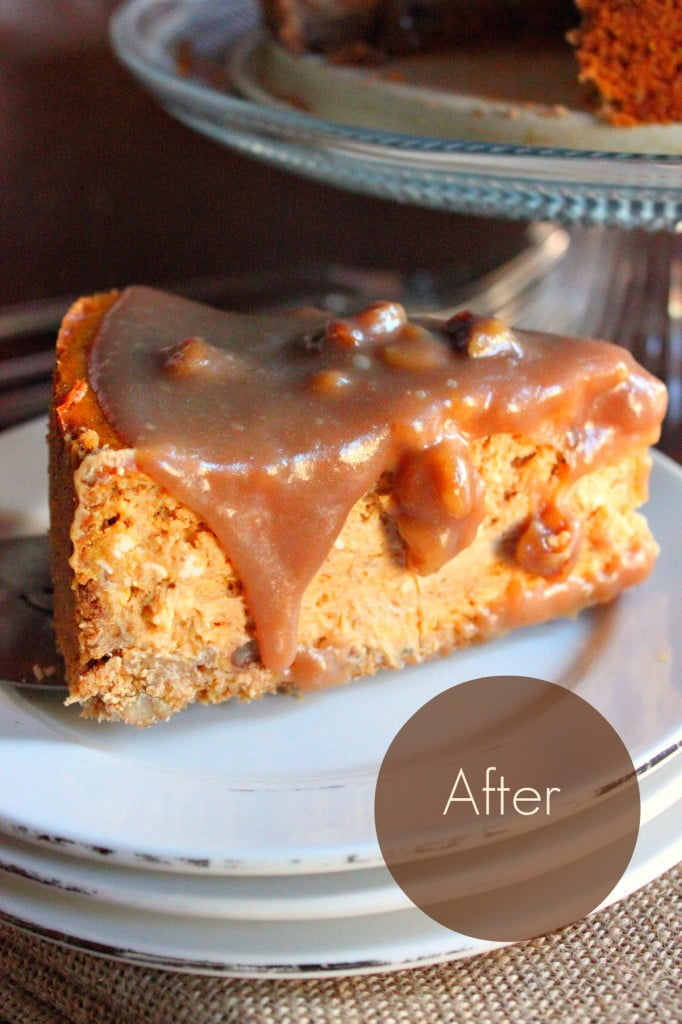 Pumpkin Cheesecake with Sticky Toffee Sauce