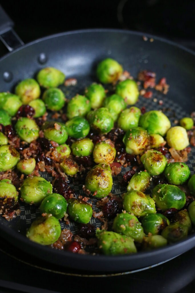 Sauteed Brussel Spouts with Bacon and Dried Cranberries