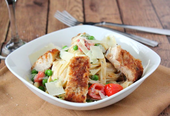 Pan Crusted Chicken with Creamy Pasta Sauce
