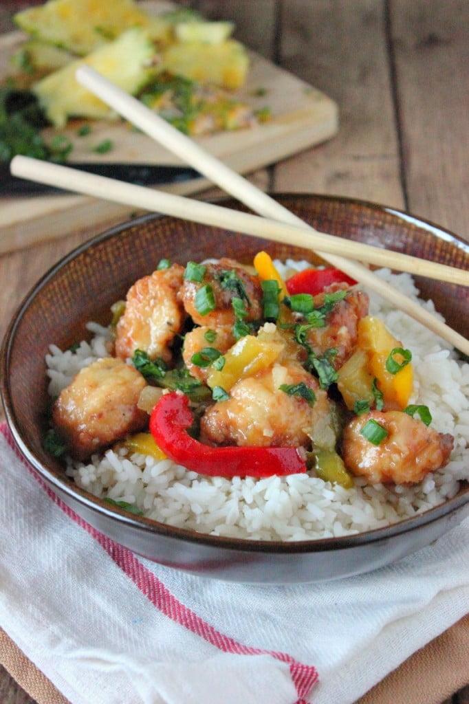 Pineapple Glazed Chicken Rice Bowl