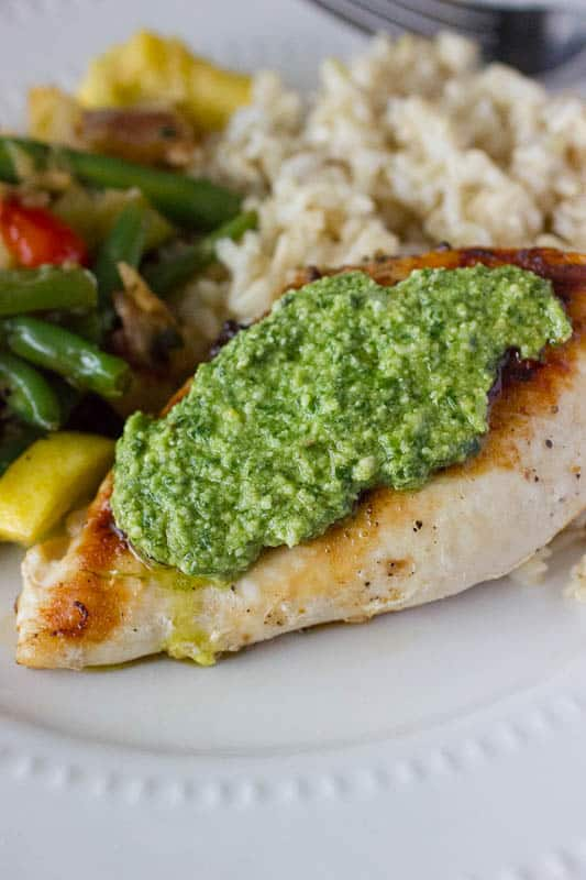 Grilled Pesto Chicken with Vegetable Medley