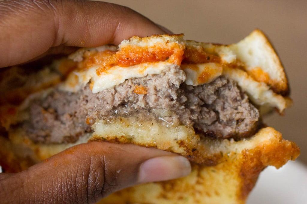 Italian Meatball Burger bitten into