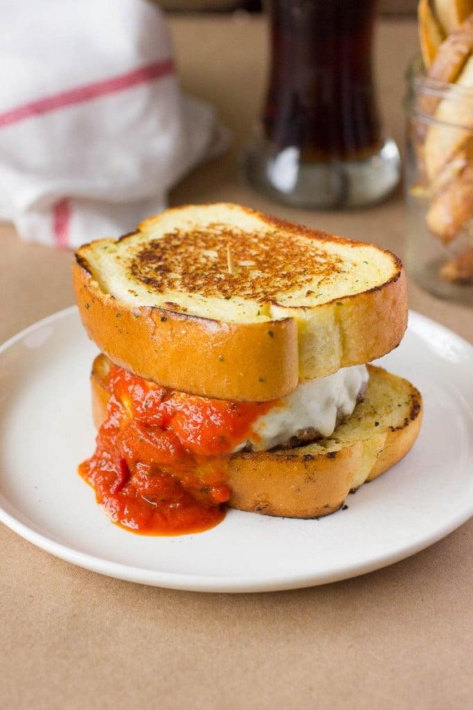 Italian Meatball Burger on a plate