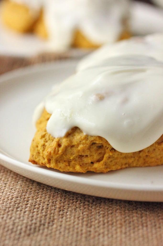 Pumpkin Scones with Cream Cheese Glaze