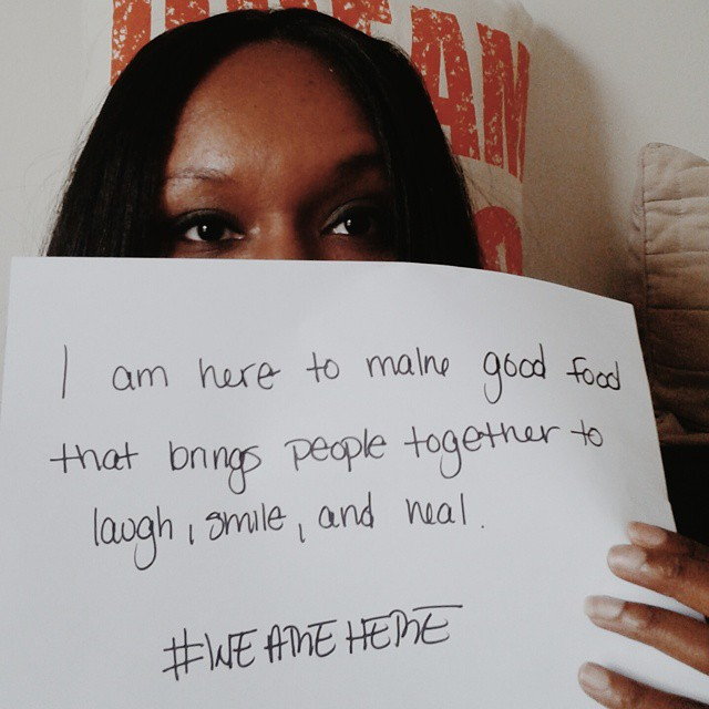 I am here to cook amazing food to bring healing to friends and families.  @aliciakeys #wearehere #vscocam #heal #fblogger