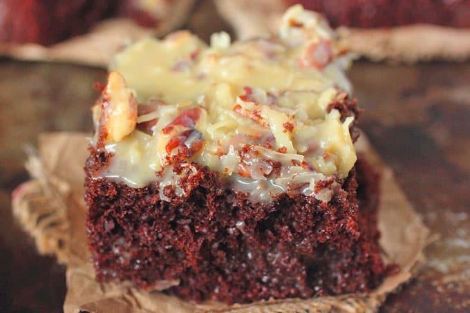 Whiskey German Chocolate Poke Cake Brown Sugar