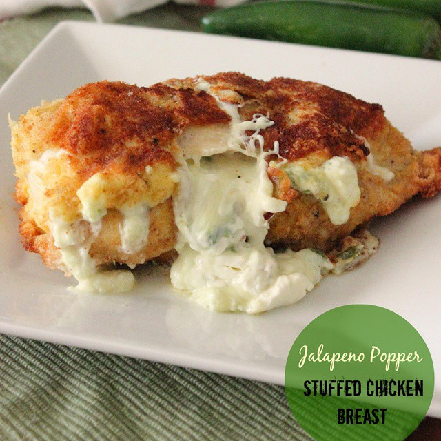 Jalapeño Popper Stuffed Chicken.  A delicious recipe for plain chicken breast. Click on link for recipe. #nomnom #yummy #getinmybelly #photograzing #foodblogger #foodphotography #fblogger #foodie #like4alike #instafood #dinnerforone #dinner #dinnertime #food #foodie #cheese #chicken#ontheblog #omg #tagstagram #instafood