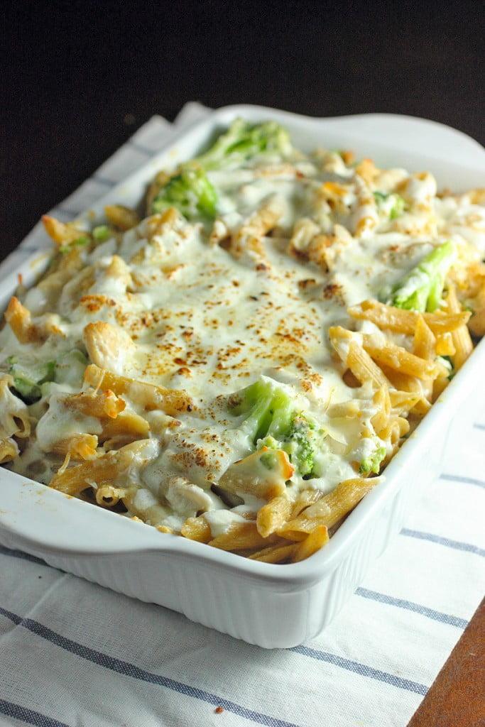 Chicken Alfredo Broccoli Baked Ziti