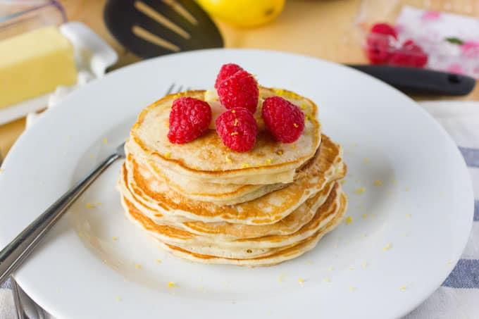 Lemon Raspberry Yogurt Pancakes