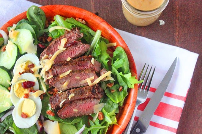 Steak salad with Sweet Vidalia Onion Dressing