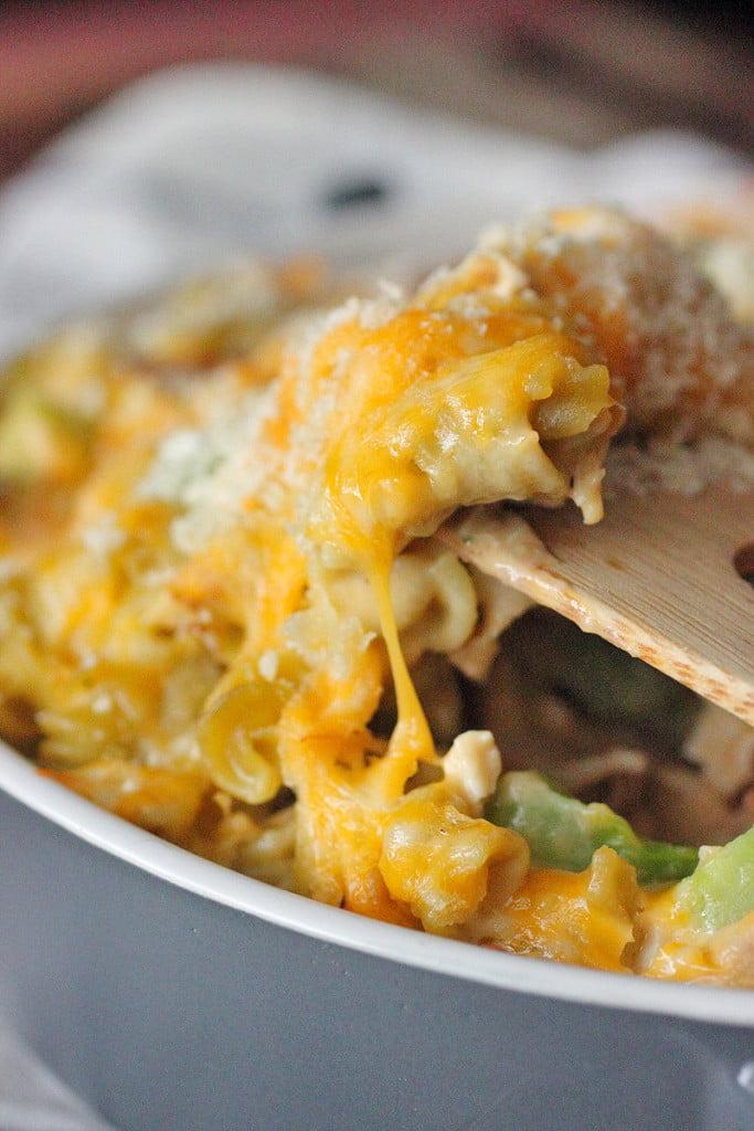"""Skinny-ish"" Cheesy Broccoli and Rotisserie Chicken Bake"