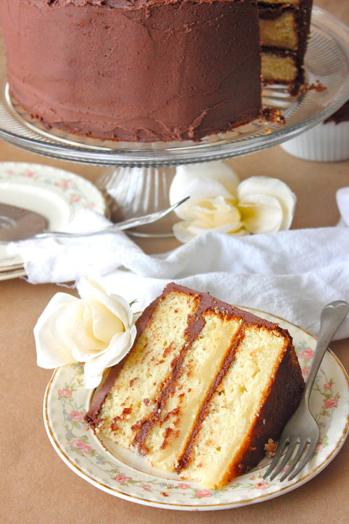 French Vanilla Pudding Cake with Chocolate Fudge Frosting