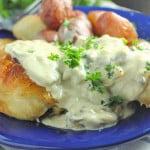 Pan Roasted Chicken Thighs with Mushroom Cream Sauce