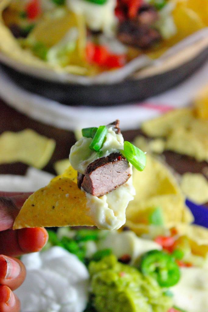 Steak and Beer Cheese Tailgate Nacho Recipe