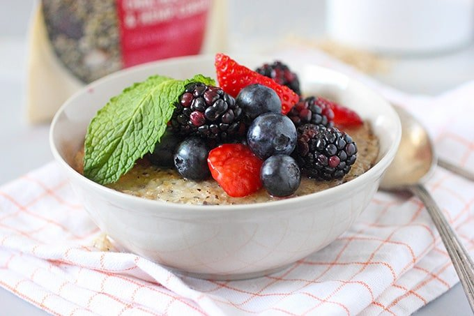Steel Cut Oatmeal Brulee and Nature's Path Qi'a Superfood
