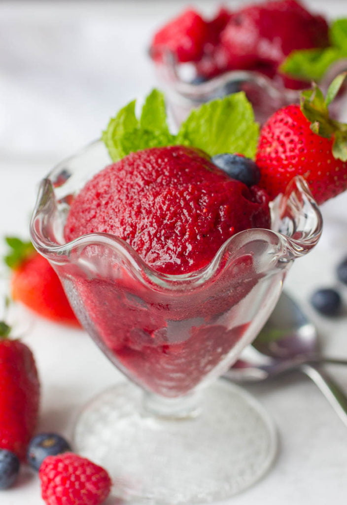 Mixed Berry and Basil Sorbet Recipe