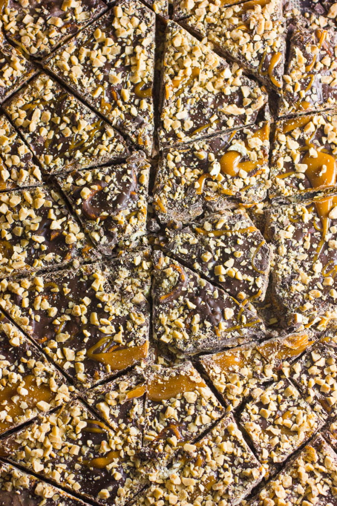 Chocolate Bark with Caramel and Pecans