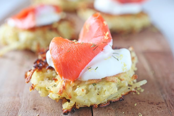 Potato Latkas with Smoked Salmon and Sour Cream