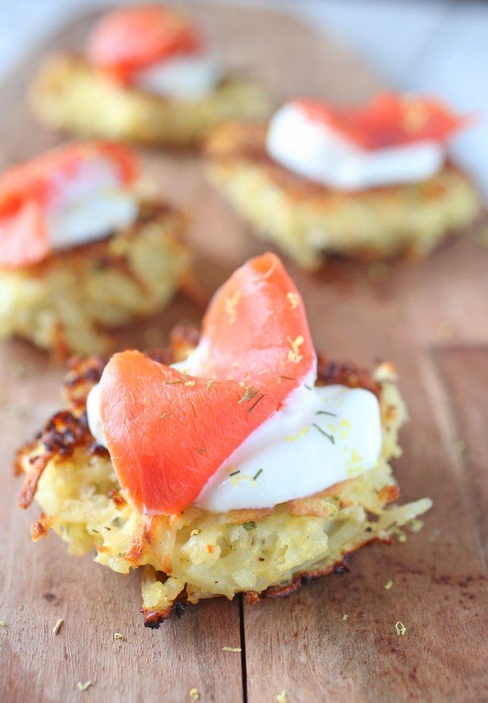 Potato Latkas with Smoked Salmon and Sour Cream