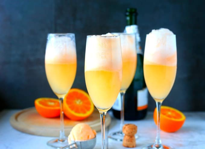 Orange Sherbert Mimosa Cocktails
