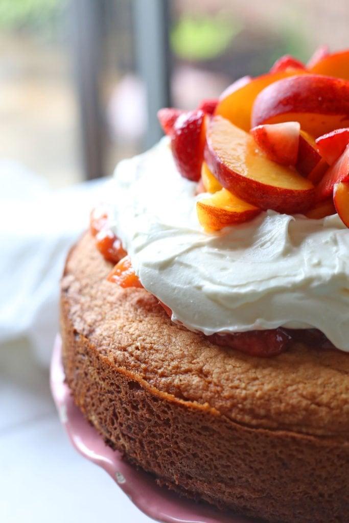 Peach and Strawberry Cake Cake