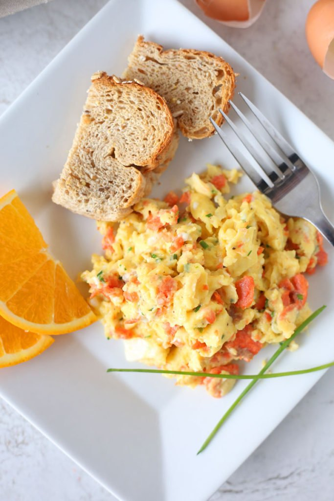 Perfect Scrambled Eggs with Smoked Salmon and Chives