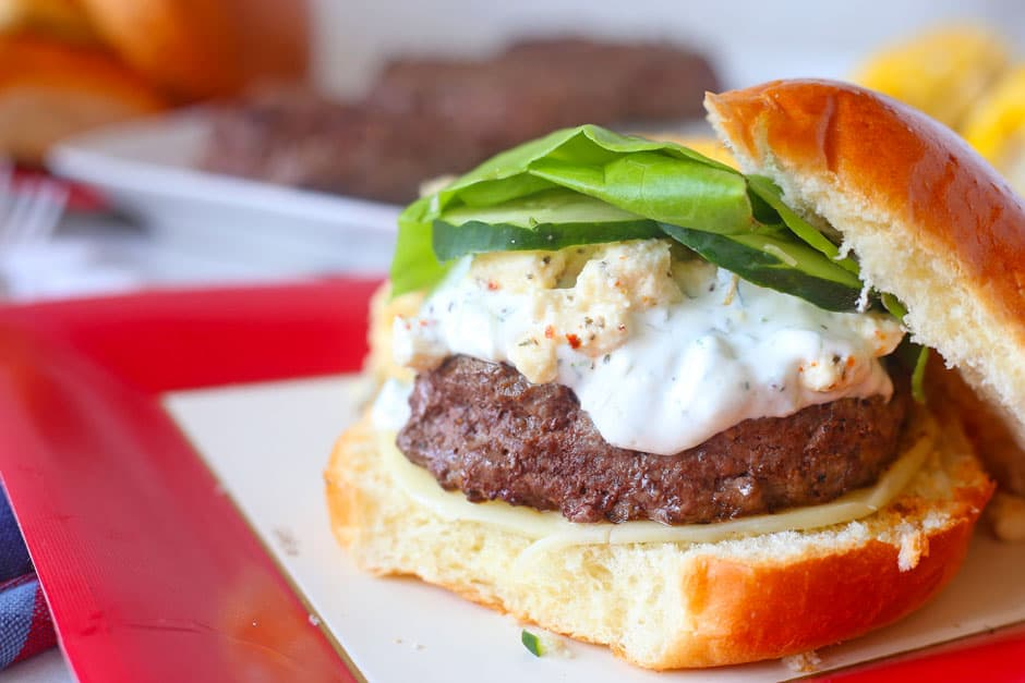 Grilled Greek Burgers with Tzatziki Sauce