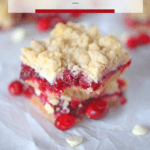 Long Pinterest image of the white chocolate and cranberry crumb bars