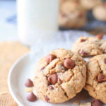 a plate of oatmeal chocolate chip cookies on a plate