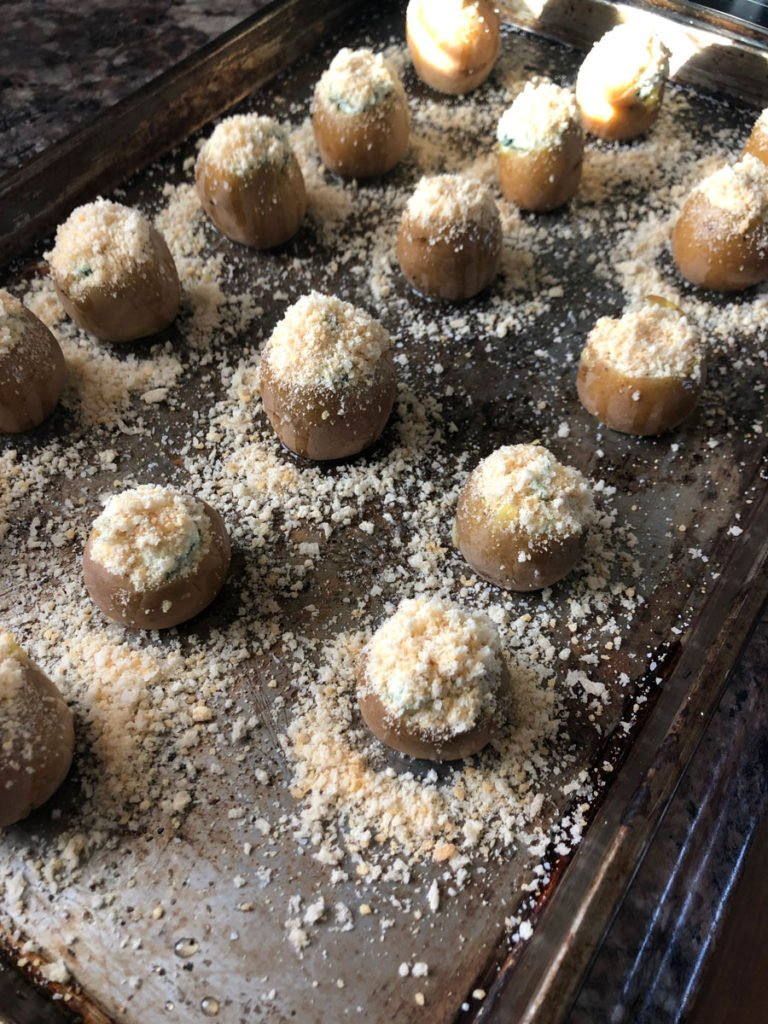 spinach and artichoke potato bites before they are baked
