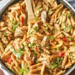 skillet with Chicken Fajita Pasta Skillet with a spoon