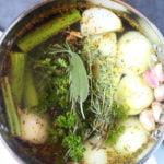 a pot of Vegetarian Chicken Stock