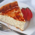 a slice of Creme Brulee Cheesecake