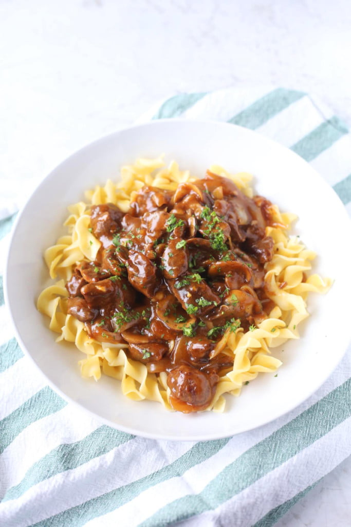 Quick and Easy Beef Stroganoff in a bowl