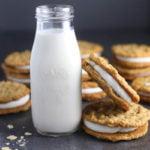 Homemade Oatmeal Cream Pies with milk