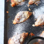 Perfect and Easy Almond Croissants recipe on baking sheet