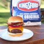 BBQ Bacon Cheeseburger with charcoal bag