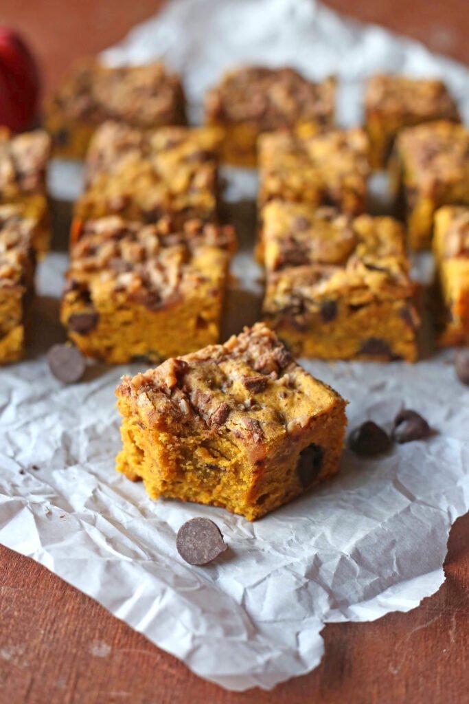 Pumpkin Blondies with Chocolate Chips
