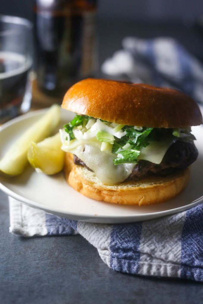 Lean Beef Burgers with Kale Slaw